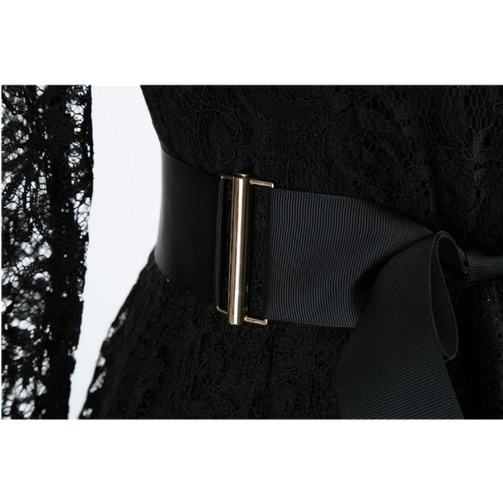 Bebovizi verão vestidos casuais roupas femininas 2019 preto renda magro ajuste sexy vestidos elegantes manga comprida plus size vestido retro