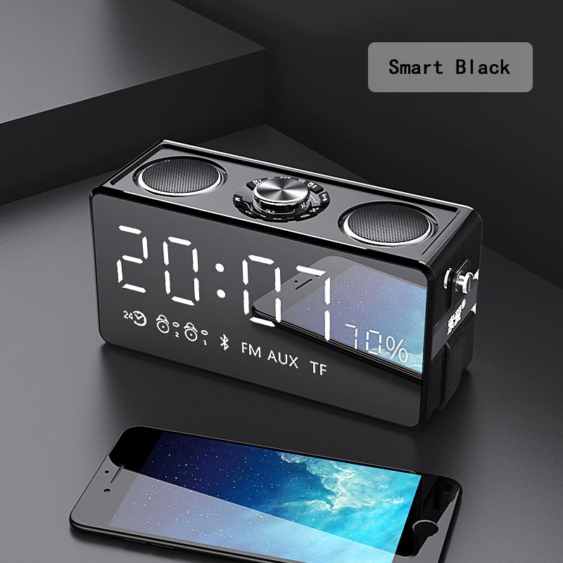 Alarm Clock 25W Loudspeakers Output 2 Channels Wireless Bluetooth V4.2 Speakers NFC AUX Power Bank Home Sound Subwoofer System