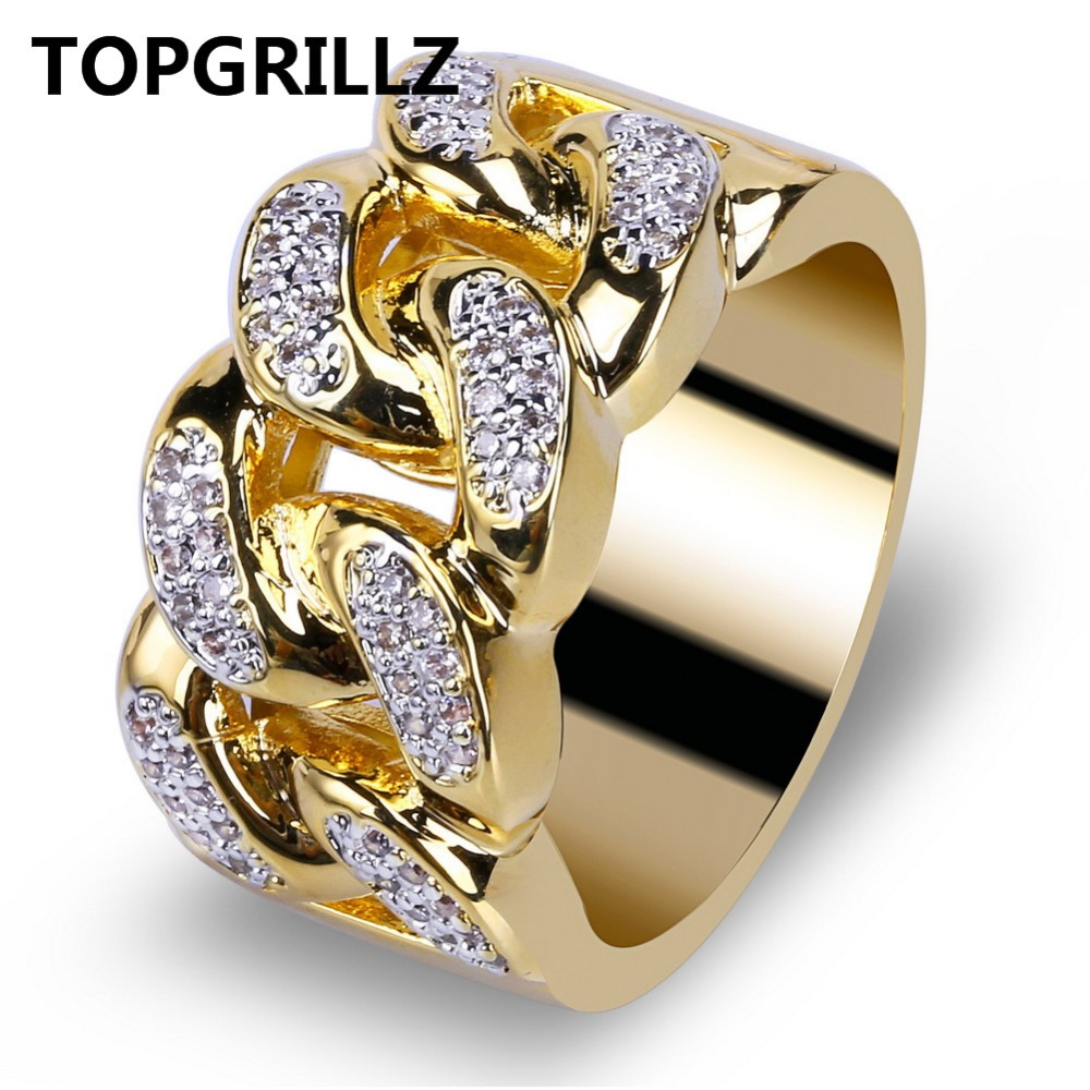 TOPGRILLZ Hip Hop Ring Rock Bling Jewelry All Iced out Micro Pave Cubic Zirconia Cuban Chain Ring for Men.Gift