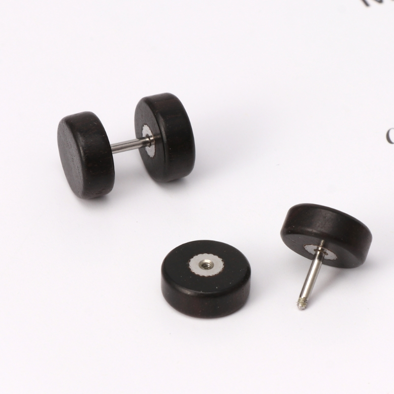 1Pair 2pcs Unisex Men Barbell Punk Gothic Stainless Steel Ear Studs Earrings Fw