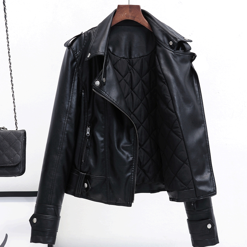 2018 New Fashion Winter Thick Short   Leather   Jacket Women Turn-down Collar Zipper Slim Black Ladies Motorcycle   Leather   Jacket
