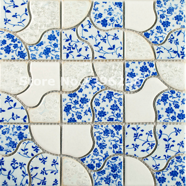 FREE SHIPPING Glossy blue&white ceramic mosaic wall tiles,Kitchen/Bath shower wall floor,Home Art walltile decor sticker,LSQHC11 art ceramic