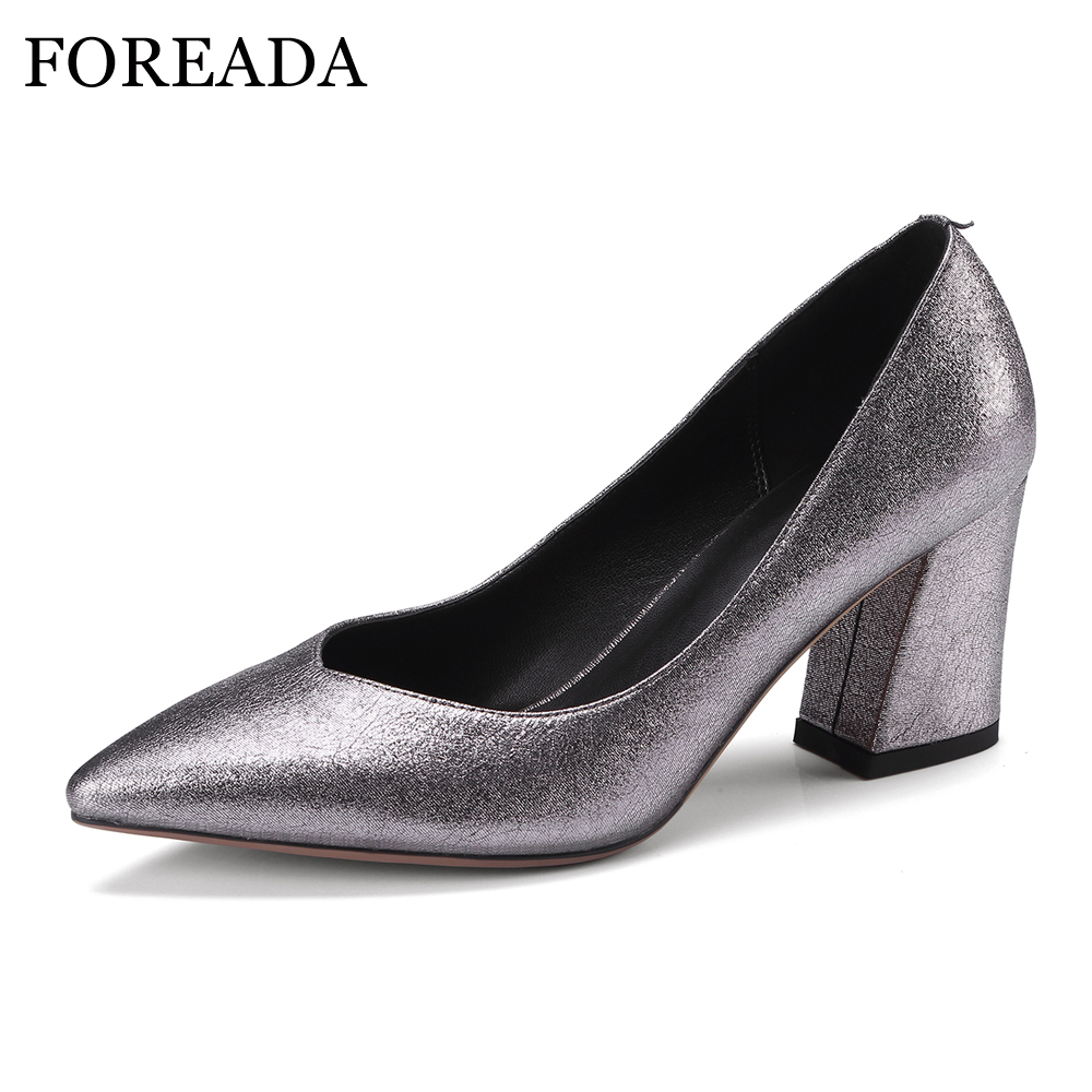 FOREADA Natural Leather Party Shoes Women Sexy Thick High Heels Pumps Spring Slip On Pointed Toe Sheepskin Shoes 2018 Ladies krazing pot shallow fashion brand shoes genuine leather slip on pointed toe preppy office lady thick high heels women pumps l18