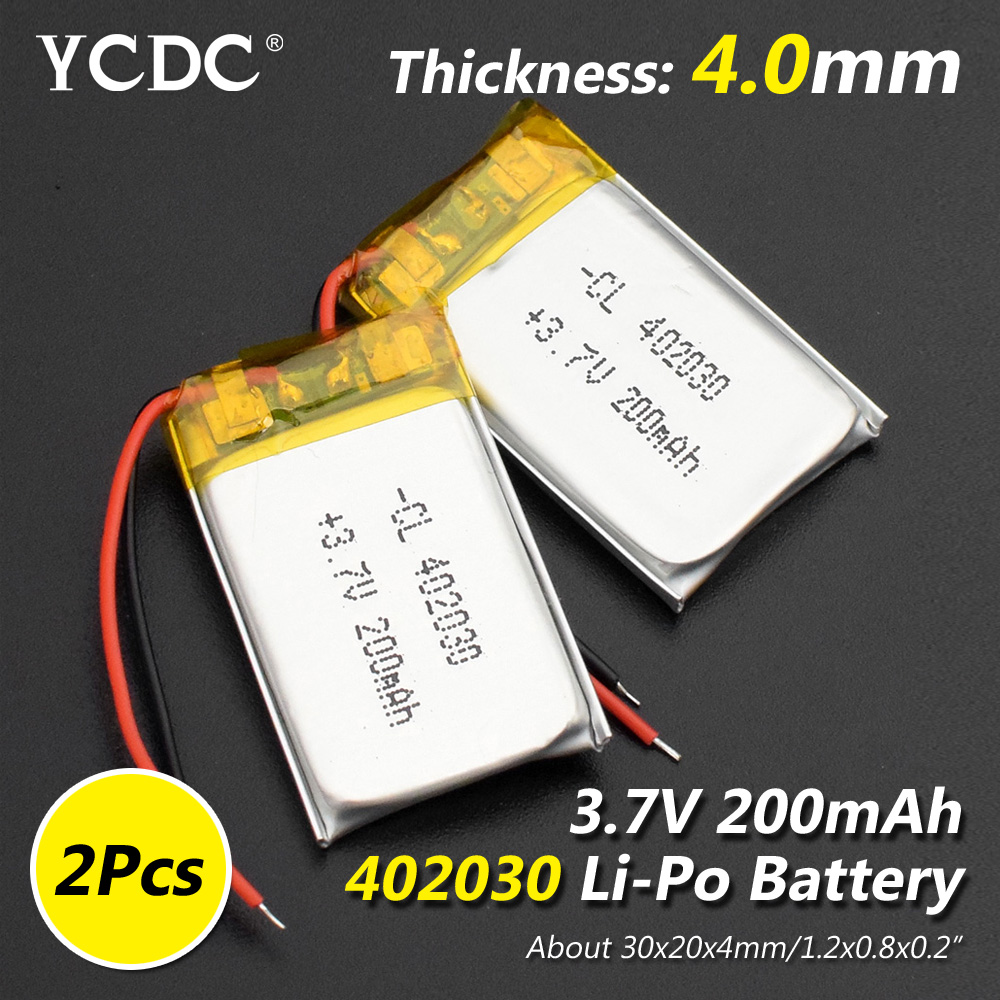 Size 402030 3.7v 200mAh Li-ion Lipo Cells Lithium Li-Po Polymer Rechargeable Battery For Bluetooth GPS MP3 MP4 Recorder
