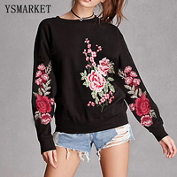 YSMARKET Rose Embroidery Sweatshirt Women Vintage Long Sleeve Autumn Pullover 2017 New Applique Casual O Neck Sweatshirt E1129