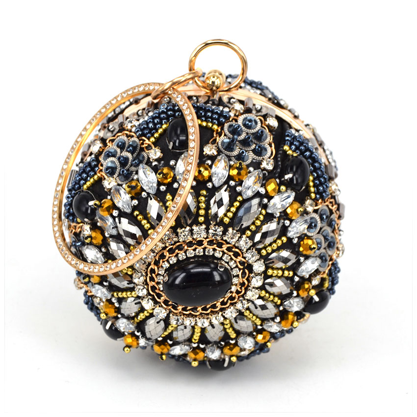 New Women Hand-beaded Handbags Luxury Pearl black Diamond Evening Bag Wedding Party Bridal Round Ball Tote Banquet Shoulder Bag new women s retro hand beaded evening bag wedding bridal handbag chain shoulder bag stitching sequins diamond stone day clutches