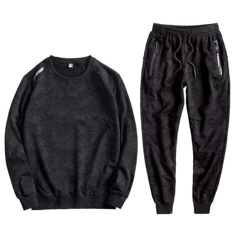2 Pieces Hoodies Set Men Sports Suit Jogging Tracksuit Men's Plus Size L-8XL Sportswear Camouflage Sweatshirt + Pants For 150KG