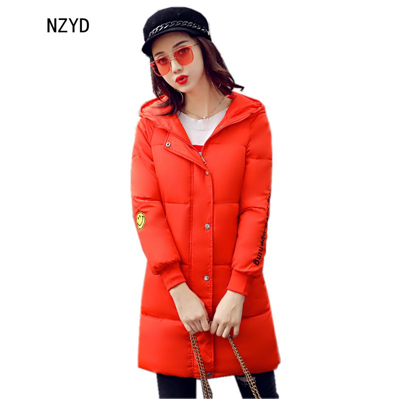 Winter Women Parkas 2017 New Fashion Hooded Thick Warm Medium long Cotton Jacket Down Long sleeve Slim Big yards Coat LADIES267 winter women down jacket hooded thick warm cotton coat large size new style casual jacket slim long sleeve medium long coat 2580