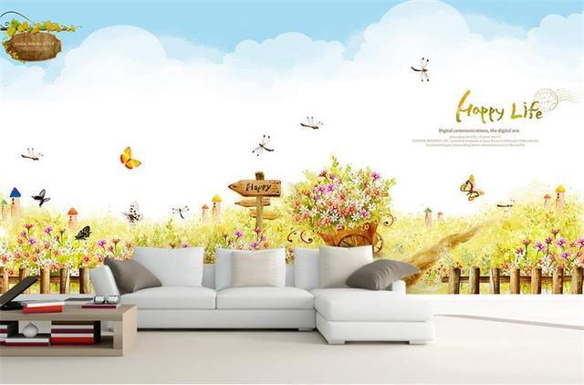 Kids Baby Room Wallpaper Custom Hd Photo Mural Non Woven Wall Sticker Garden Spring