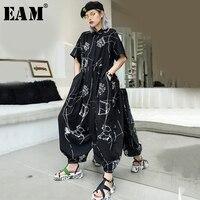 [EAM] 2019 New Autumn Winter High Waist Pocket Lapel Short Sleeve Pattern Printed Wide Leg Pants Women Jumpsuit Fashion JW277