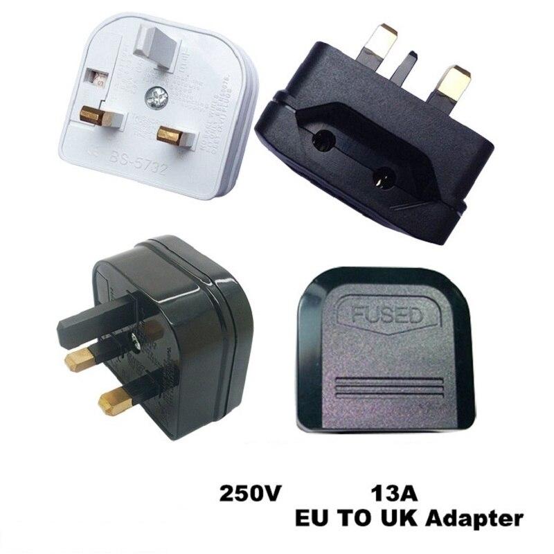 European EU 2pin to UK 3pin Plug adaptor Power Socket 13A Fuse Travel Converter Electrical Plug white black