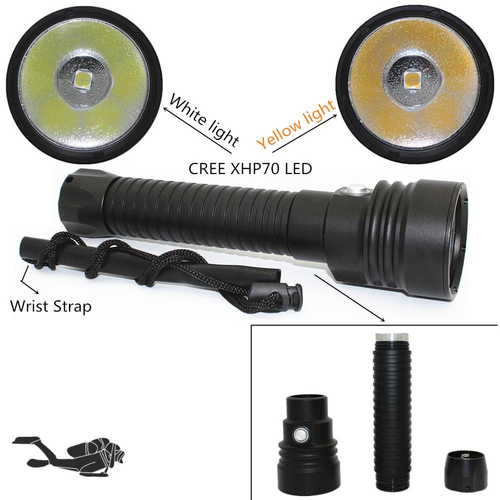 Powerful led flashlight XHP70 4200LM CREE LED Diving flashlight Underwater 100M waterproof lanterna torch White/Yellow Light