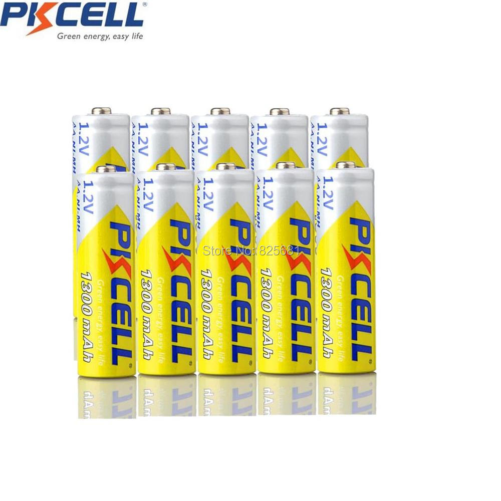 10Pcs PKCELL AA 1.2V NIMH Rechargeable Battery aa 1300mah 1.2Volt nimh Batteries For DVD MP3 Digital Camera image