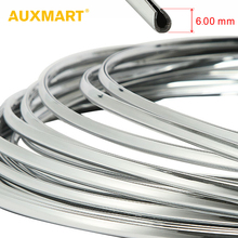 AUXMART 6mm 3meters Chromium Styling Grill Strips Car Door U-Style Grille Trim Sticker Interior / Exterior Decor Chrome Strips
