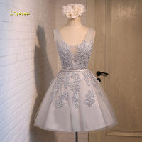 Loverxu Gorgeous Lace Appliques Short Homecoming Dresses 2107 Fashion Sashes Party Gown Knee Length A Line