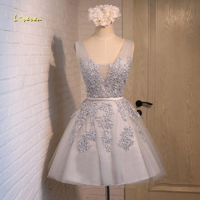 1a5c481dc7a Loverxu Gorgeous koronka aplikacje krótki Homecoming suknie 2019 moda  Sashes strona suknia kolano długość linii suknia