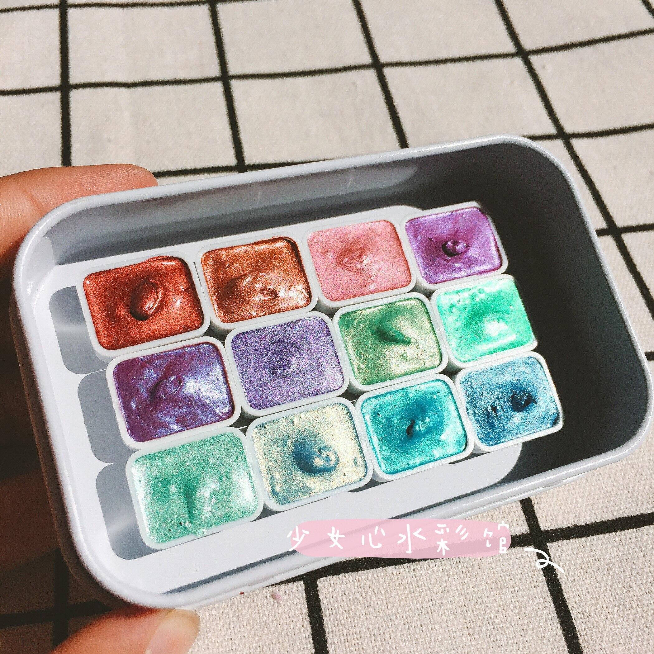 Kit de embalaje de pigmentos de acuarelas profesionales de 12 colores de Color perlado