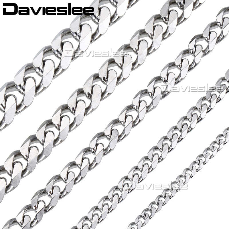 Davielsee Mens Necklace Chain Stainless Steel Gold Silver Black Wholesale 2018 Necklace for Men Jewelry Gift 3 5 7 9 11mm LKNM07