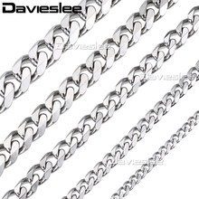 Davielsee Mens Necklace Chain Stainless Steel Gold Silver Black Wholesale 2018 Necklace for Men Jewelry Gift 3 5 7 9 11mm LKNM07(China)
