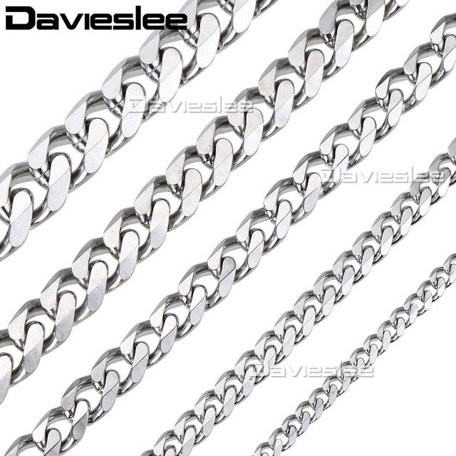 Davielsee Mens Necklace Chain Stainless Steel Gold Silver Black Wholesale 2018 N