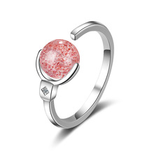 Trendy Pink Strawberry Quartz 925 Sterling Silver Lady Finger Rings Jewelry Women Birthday Gift No Fade Open Ring Cheap