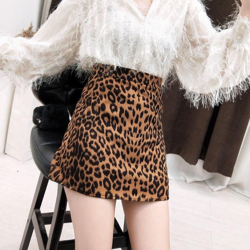 Sexy Leopard Print Suede Skirt Women Summer Bodycon High Waist Pencil Skirt Streetwear 2017 Fashion Casual Mini Saia Skirt Women