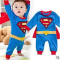 Baby Boy Romper Superman Long Sleeve with Smock Halloween Christmas Costume Gift Spring Children Casual Clothing Free Shipping