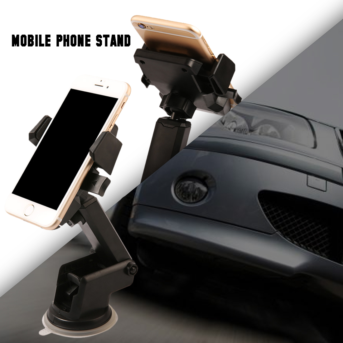 Dewtreetali 360 Rotating ABS Black Stand Telescopic Phone Bracket Windshield Car Mount Sucker Cell Phone Holder