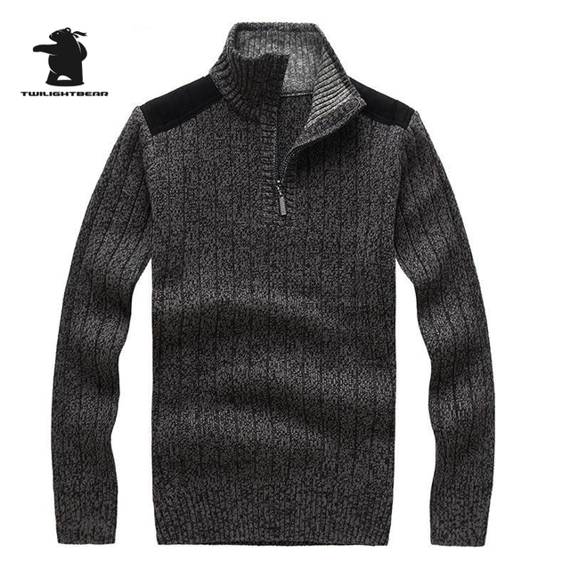 2016 New Winter men's long-sleeved Casual Sweater Coat High Quality Thicken Solid Color Sweater For Men 3 Colours S~2XL DB12F705