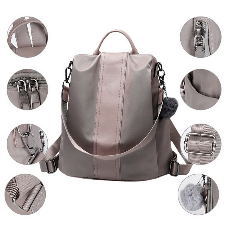 Women Concise Norm Backpack Neutral Schoolbag Knap-sack Anti-theft Design And Waterproof Nylon Backpacks