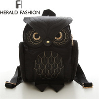 Women Backpack 2016 Newest Stylish Cool Black PU Leather Owl Backpack Female Shoulder Bag School Bags