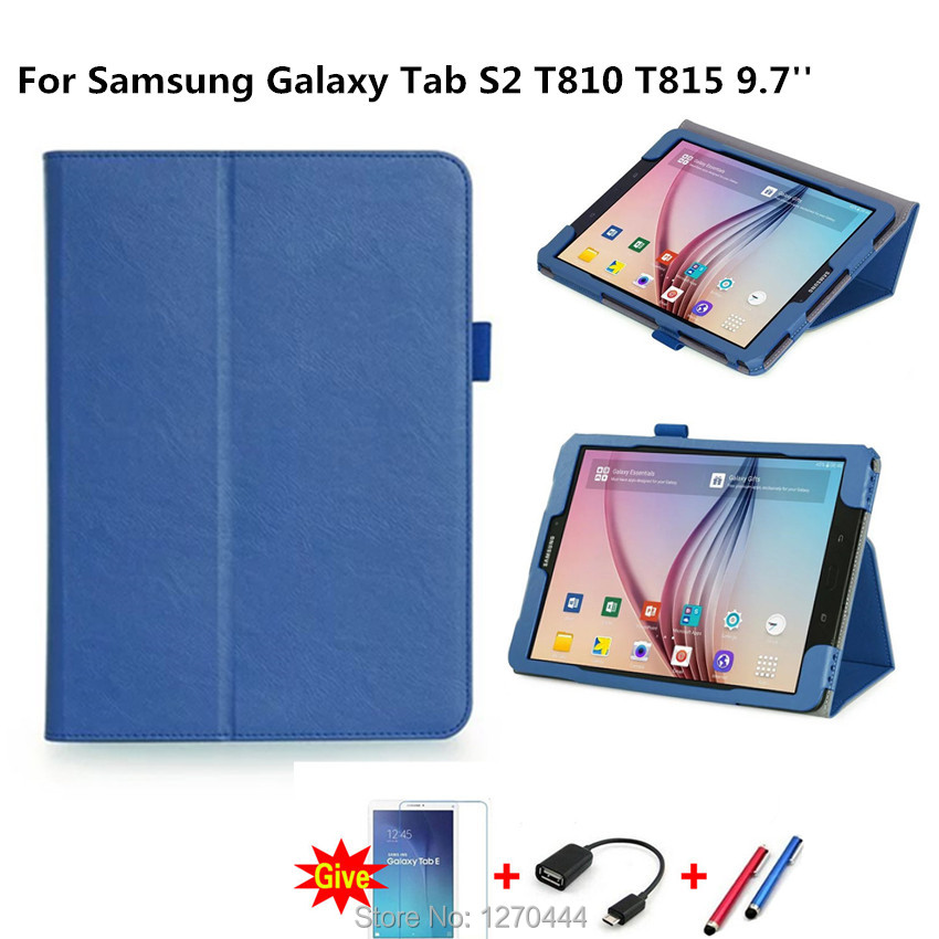 Official Original Tab S2 T810 case Cover For Samsung Galaxy Tab S2 T810 T811 T815 9.7 funda cases Smart cover+Pen+OTG+Film