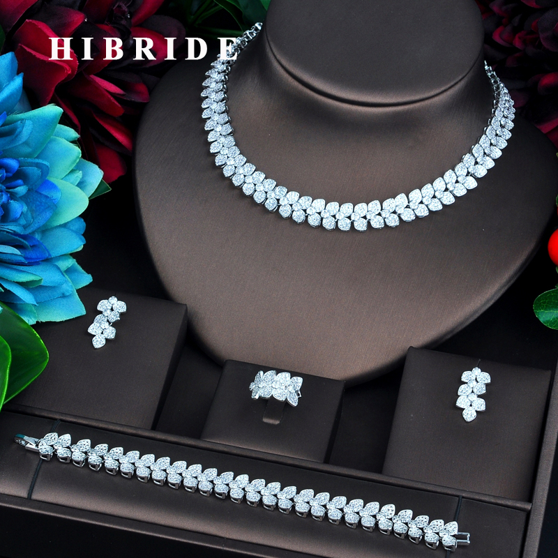 HIBRIDE New Beauty Flower Design White Gold Color Bridal Jewelry Sets For Women Necklace Pendant Accessories