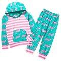 Outono crianças terno do bebê roupas das meninas dos meninos quente forte cervo com a capa top + calças leggings crianças roupas cervos impresso childr