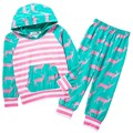 autumn children suit baby boys girls warm strong outfits deer with a hood top + pants leggings kids clothing deer printed childr