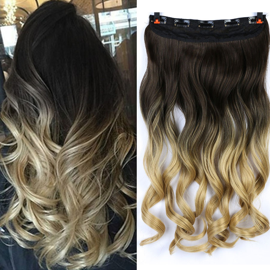 MUMUPI Clip In Hair Extension Ombre 24 Inches Blonde Black Full Head Synthetic Natural Curly Wavy Hairpiece Hair Pieces   Headwear