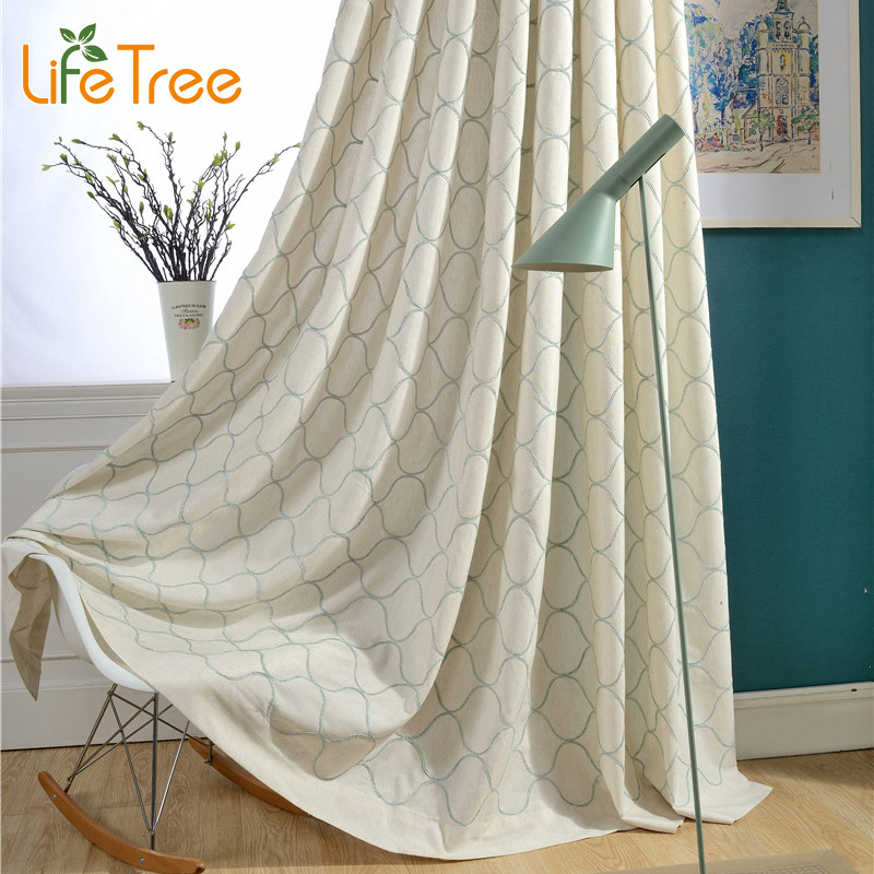 Blue Cream Modern Blackout Curtains For Living Room Simple Bedroom ...