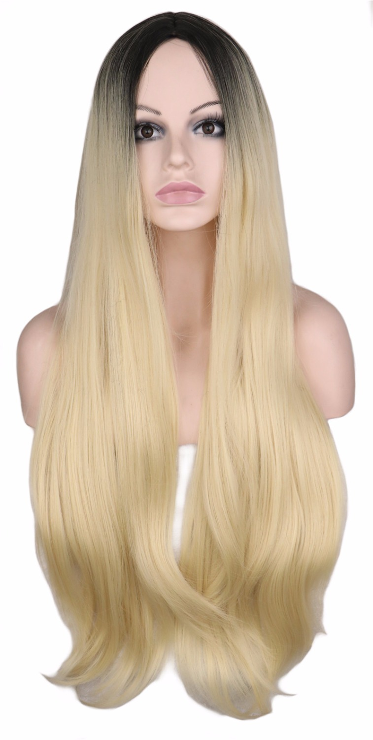 QQXCAIW Women Long Wavy Fully Hair Wig For Women Black Root Blonde 70 Cm High Temperature Synthetic Hair Wigs