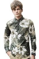 Free Shipping men's male fashion spring casual long sleeved NEW art light ink flower tip collar Slim print England shirt 712070