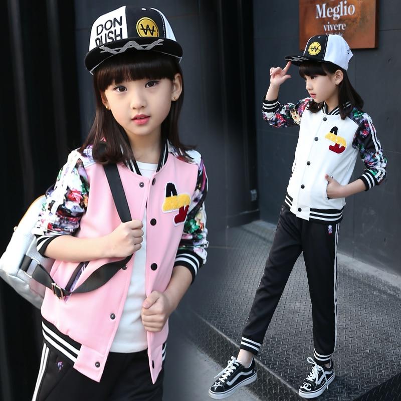 ФОТО Girls Sports Set Print Fashion Kids Suits Floral Flower Girls Clothes Set Autumn Kids Outfits coat+pants Active Clothing Sets