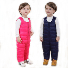 Children Duck down pants overalls  Winter Baby Bib Pants Boys & Girls  Padded Warm Pants thick  Suspender Trousers Kids  cloth