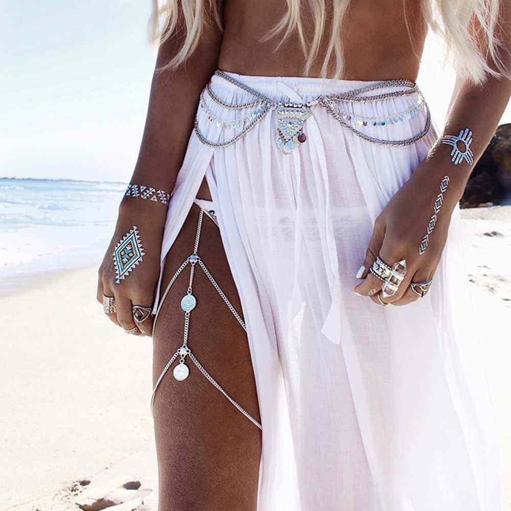 FAMSHIN רגל שרשרות boho עכס גוף תכשיטי זהב כסף צבע anklets לנשים רגל חדש שרשרות גוף תכשיטים