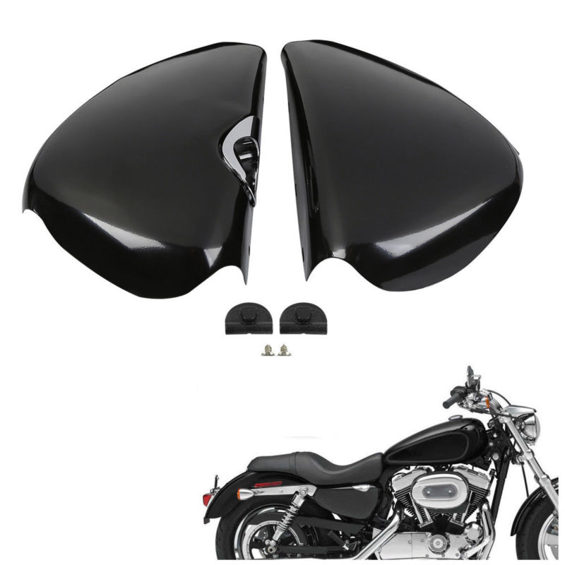 Motorcycle Left Right Side Battery Cover For Harley Sportster XL 1200 Iron 883 2004-2013 12 Forty Eight 72 04-13 Seventy Two xyivyg motorcycle chin fairing front spoiler for harley sportster 1200 883 low xl1200l forty eight 2004 2014