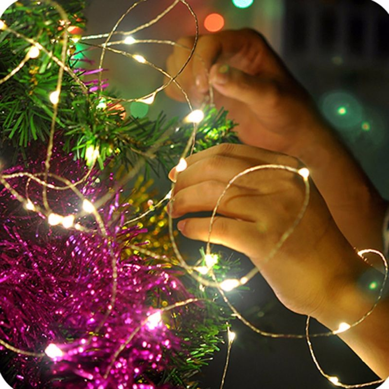 LED String Lights Christmas Fairy Lights Silver Wire 1M/2M/3M/5M/10M Halloween LED lamp New year Light Garland Party Decoration light string battery 1m 2m 5m 10m led string lights for xmas garland party wedding decoration christmas tree flasher fairy light