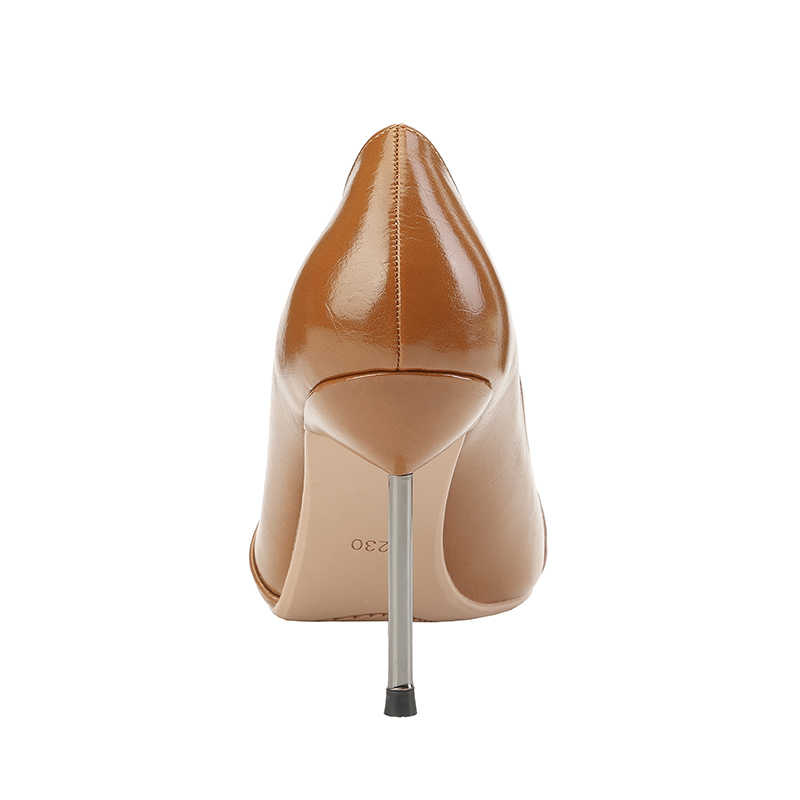 7c8e83baa6 2019 New Woman 9cm High Heels Office Sexy Shoes Female Stiletto Brown  Fuschia Party Leather Escarpins Valentine Green Pumps