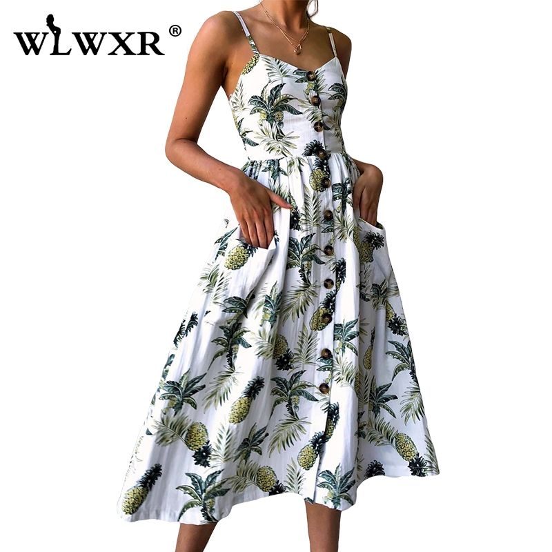 WLWXR Floral Print Casual Boho <font><b>Dress</b></font> Women Sundress Spaghetti Strap Beach Summer <font><b>Dress</b></font> Female Backless <font><b>Ladies</b></font> <font><b>Sexy</b></font> Midi <font><b>Dresses</b></font> image