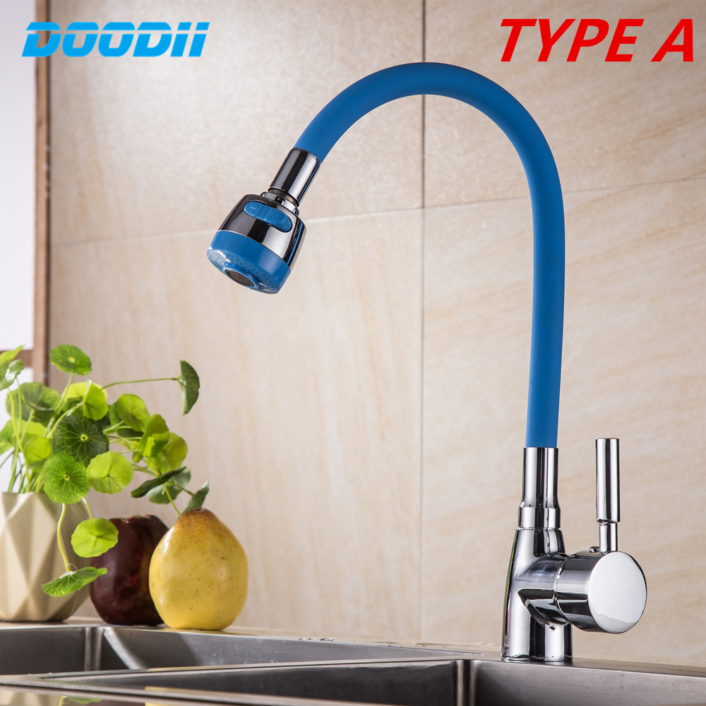 Zinc Alloy Silica Gel Nose Any Direction Kitchen Faucet Cold and Hot Water Mixer Torneira Cozinha Crane Single Handle Tap DOODII