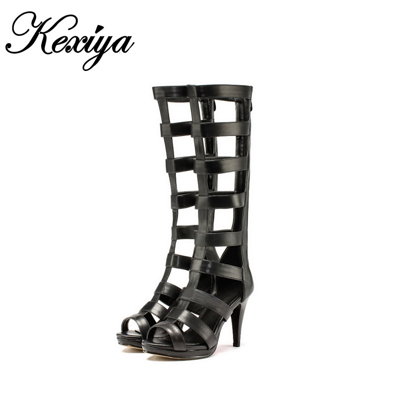 New Summer women Knee-High boots plus size 31-43 platform high heel shoes sexy Peep Toe black gladiator Sandals zapatos mujer muffin wedge high heel stretch women extreme fetish casual knee peep toe platform summer black slip on creepers boots shoes
