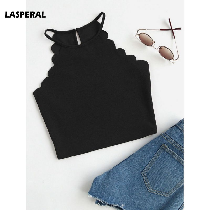 LASPERAL Women 2019 Crop Tops Solid Black Scallop Trim Halter Top New Summer Women Sleeveless Slim Camisole Women Sexy Tees Top