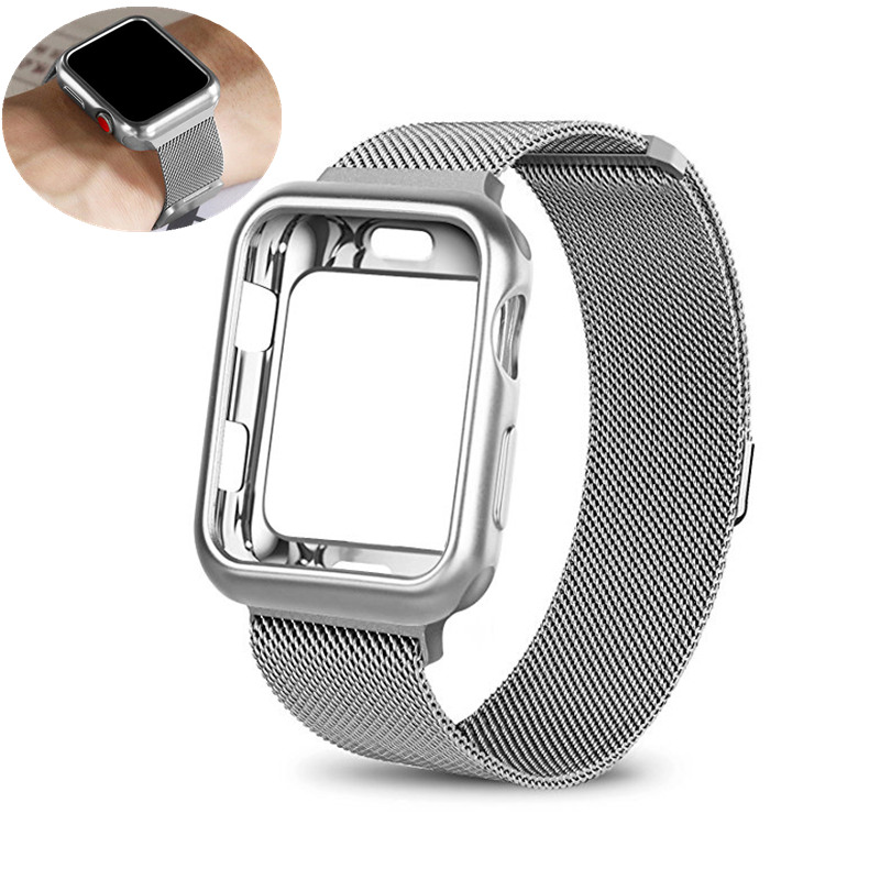 ASHEI Mesh Strap+Case For Apple Watch Band 38mm 42mm Milanese loop Adjustable Magnetic Clasp Bracelet For Iwatch Series 3 2 1 sport loop for apple watch band case 42mm 38mm nylon watch strap bracelet with metal frame protector case cover for iwatch 3 2 1